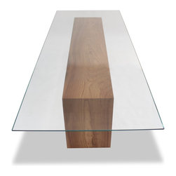 Glass Top & Solid Wood Dining Table - Rectangular glass top dining table with double-fold solid wood base.
