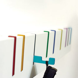 Desu Design - Home & Garden > Household Supplies > Storage & Organization > - During the coatless summer months the Symbol hangs as a purely asthetic piece, as the hooks lay flat and belie their function. When needed the hooks pull smoothly out to help you organize your stuff.  Manufactured by Desu Design.