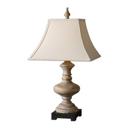 Uttermost - Serdiana Wood Table Lamp - Wood Base Finished In A Roasted Pecan With A Bleached Gray Wash And A Rustic Bronze Foot. The Square Bell Shade Is A Khaki Linen Fabric. Number Of Lights: 1, Shade: Square Bell Shade, Shade Size: Height: 12, Top: 8.25w X 8.25d, Bottom: 16w X 16d, Voltage: 110, Wattage: 150w, Bulbs Included: No