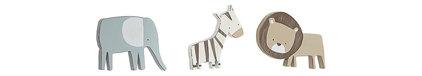 Sadie & Scout 3 Piece Safari Wall Decor - Zebra, Elephant & Lion - Crown Craft -