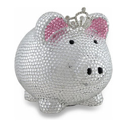 Zeckos - Silver Bling Princess Pig Razzle Dazzle Rhinestone Piggy Bank - This little piggy bank went to the castle and got herself a crown This princess piggy may be fit for a queen, but it's perfect for a princess Covered with hundreds of clear faceted jewels over a metallic silver finish and a topped off with a sparkling tiara certainly gives this little piggy a bit of blingy Made of ceramic, it measures 5.25 inches (13 cm) high, 5.75 inches (15 cm) long and 5 inches (13 cm) wide with foam pads on the bottom to protect display surfaces, and easily empties via a plastic plug in the bottom. It's a fun accessory in your little princess' room or your queens' boudoir, looks great on shelves, dressers or nightstands, and makes a wonderful gift to encourage a healthy saving habit