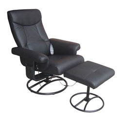 """Comfort Products - Heated Reclining Massage Chair with Ottoman - Features: -Eight motor vibration massage recliner with heat.-Black faux leather.-Complete relaxation.-Sturdy metal frame.-Soothing heat treatment in the lumbar area.-Approved for weights up to 250 lbs.-Upholstery Color: Black.-Finish: Black.-Distressed: No.-Upholstery Material: PVC.-Frame Material: Steel.-Hardware Material: Steel.-Number of Items Included: Includes 2 items: chair and ottoman.-Non-Toxic: Yes.-Scratch Resistant: No.-Stain Resistant: No.-Water Resistant or Waterproof: Water Resistant.-Fire Resistant: No.-Mildew Resistant: No.-Fade Resistant: No.-Tear Resistant: No.-Glider: No.-Swivel: Yes.-Zero Gravity Design: No.-Reclines: Yes -Recline Type: Manual.-Required Back Clearance to Recline: Requires 16"""".-Recline Angle : Maximum Angle: 135 Degrees..-Cushion Fill Material: Foam Fill.-Seat Comfort: Medium.-Removable Seat Cushions: No.-Removable Back Cushions: No.-Removable Upholstery Cover: No.-Removable Massage Softening Pad: No.-Ottoman Included: Yes.-Cupholders: No.-Massage Types: Vibration massage.-Music Synchronized Massage: No.-Calf Massage: Yes.-Foot Massage: No.-Heat Function: Yes.-Number of Pre-Programmed Massages: 10.-Program Memorization: No.-Vibration: Yes -Vibrating Seat: Yes.-Number of Vibration Motors: 8.-Adjustable Speed: No.-Adjustable Intensity: Yes.-Number of Intensity Settings: 10..-Adjustable Width: No.-Adjustable Foot Rest: No.-Adjustable Headrest: No.-Massage Rollers: No.-Body Scanning: No.-Air Pressure System: No.-Built In Control Panel: No.-Remote Control: Yes.-LCD Control: No.-Programmable Timer: Yes.-Automatic Shut Off: Automatic shut off after 30 minutes.-Built In Music Player: No.-Headphones Included: No.-USB Flash Memory Stick Included: No.-Operating Voltage: AC 120V 60HZ.-Weight Capacity: 250 lbs.-Swatch Available: No.-Commercial Use: No.-Recycled Content: No.Dimensions: -Overall Height - Top to Bottom: 40"""".-Overall Width - Side to Side: 30.25"""".-Overall Depth - Fron"""