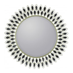"""Cooper Classics - Arden White Wash Round Mirror - Silver Finish; Beveled Mirror Frame Dimensions: 23.5""""W X 23.5""""H X 1""""D; Mirror Dimensions: 15""""W X 15""""H; Finish: Silver; Material: Metal; Beveled: Yes; Shape: Round; Weight: 9; Included: Brackets, Ready to Hang"""