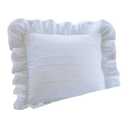 "Taylor Linens - Elisa Egg-Shell White 16"" Toss Pillow - Flirty and feminine, this charming pillow is adorned with decorative eyelets and a halo of ruffles trimmed with lace. The cotton cover is machine washable, and comes with a goose feather and down insert, assuring serene softness for years to come."