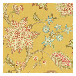 Yellow Delicate Floral Linen Fabric - Transitional floral in sunny yellow with springy pinks & greens on soft breezy linen.  The perennial favorite floral of Loom Stylists & clients alike!Recover your chair. Upholster a wall. Create a framed piece of art. Sew your own home accent. Whatever your decorating project, Loom's gorgeous, designer fabrics by the yard are up to the challenge!