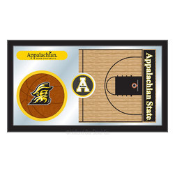 "Holland Bar Stool - Holland Bar Stool Appalachian State Basketball Mirror - Appalachian State Basketball Mirror belongs to College Collection by Holland Bar Stool The perfect way to show your school pride, our basketball Mirror displays your school's symbols with a style that fits any setting.  With it's simple but elegant design, colors burst through the 1/8"" thick glass and are highlighted by the mirrored accents.  Framed with a black, 1 1/4 wrapped wood frame with saw tooth hangers, this 15""(H) x 26""(W) mirror is ideal for your office, garage, or any room of the house.  Whether purchasing as a gift for a recent grad, sports superfan, or for yourself, you can take satisfaction knowing you're buying a mirror that is proudly Made in the USA by Holland Bar Stool Company, Holland, MI.   Mirror (1)"