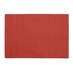 Coral Structured Linen Custom Placemat Set - Is your table looking sad and lonely? Give it a boost with at set of Simple Placemats. Customizable in hundreds of fabrics, you're sure to find the perfect set for daily dining or that fancy shindig. We love it in this bright tomato red linen blend with a smooth, crisp basketweave texture.