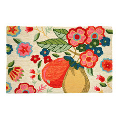 Homefires - Golden Pair Rug - Toward a more fruitful solution. This sweet pear and flower rug makes standing in your kitchen more comfy, stepping out of your bath a little warmer and getting out of bed just a little sunnier.