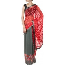 Red and grey rose printed half and half saree available only at Pernia's Pop-Up