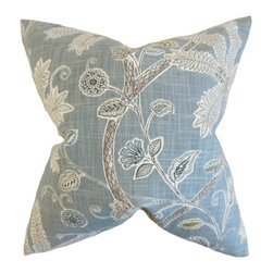 """The Pillow Collection - Mead Floral Pillow, Mineral 18"""" x 18"""" - Blend this tasteful statement piece to your interiors."""
