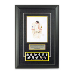 "Heritage Sports Art - Original art of the MLB 1925 Pittsburgh Pirates uniform - This beautifully framed piece features an original piece of watercolor artwork glass-framed in an attractive two inch wide black resin frame with a double mat. The outer dimensions of the framed piece are approximately 17"" wide x 24.5"" high, although the exact size will vary according to the size of the original piece of art. At the core of the framed piece is the actual piece of original artwork as painted by the artist on textured 100% rag, water-marked watercolor paper. In many cases the original artwork has handwritten notes in pencil from the artist. Simply put, this is beautiful, one-of-a-kind artwork. The outer mat is a rich textured black acid-free mat with a decorative inset white v-groove, while the inner mat is a complimentary colored acid-free mat reflecting one of the team's primary colors. The image of this framed piece shows the mat color that we use (Yellow). Beneath the artwork is a silver plate with black text describing the original artwork. The text for this piece will read: This original, one-of-a-kind watercolor painting of the 1925 Pittsburgh Pirates uniform is the original artwork that was used in the creation of this Pittsburgh Pirates uniform evolution print and tens of thousands of other Pittsburgh Pirates products that have been sold across North America. This original piece of art was painted by artist Nola McConnan for Maple Leaf Productions Ltd.  1925 was a World Series winning season for the Pittsburgh Pirates. Beneath the silver plate is a 3"" x 9"" reproduction of a well known, best-selling print that celebrates the history of the team. The print beautifully illustrates the chronological evolution of the team's uniform and shows you how the original art was used in the creation of this print. If you look closely, you will see that the print features the actual artwork being offered for sale. The piece is framed with an extremely high quality framing glass. We have used this glass style for many years with excellent results. We package every piece very carefully in a double layer of bubble wrap and a rigid double-wall cardboard package to avoid breakage at any point during the shipping process, but if damage does occur, we will gladly repair, replace or refund. Please note that all of our products come with a 90 day 100% satisfaction guarantee. Each framed piece also comes with a two page letter signed by Scott Sillcox describing the history behind the art. If there was an extra-special story about your piece of art, that story will be included in the letter. When you receive your framed piece, you should find the letter lightly attached to the front of the framed piece. If you have any questions, at any time, about the actual artwork or about any of the artist's handwritten notes on the artwork, I would love to tell you about them. After placing your order, please click the ""Contact Seller"" button to message me and I will tell you everything I can about your original piece of art. The artists and I spent well over ten years of our lives creating these pieces of original artwork, and in many cases there are stories I can tell you about your actual piece of artwork that might add an extra element of interest in your one-of-a-kind purchase."