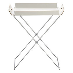 Formosa White Tray Table - The Formosa tray table by CB2 is so versatile that I can see it being used for multiple purposes throughout the season: serving drinks poolside, arts and crafts catchall, or even a simple beside table.