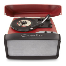 Crosley - Collegiate Turntable - Feel like you're stuck in cruise control when you listen to your iPod? Rev up your music experience with Crosley's Collegiate Turntable. This retro-inspired, three-speed turntable features a front stereo speaker designed to look like the grill of an automobile. The Collegiate is easily transportable with a built-in leather handle allowing you to play your favorite vinyl records anywhere you go. Connect the device to your computer through the USB port and use the included software to preserve your records to digital files.