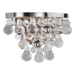 Robert Abbey - Bling Wall Sconce, Polished Nickel - Droplets of glass morning dew suspended on a ceiling sconce will attract eyes upward in your clean and airy home. Like dew in the sunshine, the droplets shimmer and provide a clear and sparkling light source for you to enjoy.