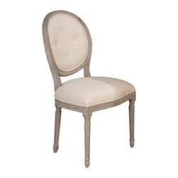 Jofran - Jofran Burnt Grey Oval Tufted Back Side Chair w/ Linen Seat in Solid Oak [Set of - Belongs to Burnt Grey Collection by Jofran. Solid Oak.