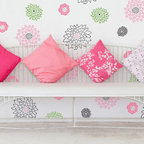 Japanese Flower Garden B Stencil - Japanese Flower Garden B stencil set. Create a lovely floral garden mural with this set of 5 different flower stencil motifs. Mix and match the flowers and incorporate different color for a completely custom hand painted wall treatment.