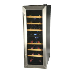 Kalorik - Wine Cooler - 21 Bottle, by Kalorik - This his dual-zone wine cooler stores wine at optimal temperature and humidity conditions, keeping it safe and ready to enjoy. Digital controls with an LCD display make it easy to set the temperature. It include soft interior LED lighting with an on/off switch, automatic defrost, a Celsius and Fahrenheit switch, a stainless steel door, an adjustable level foot, and a door with double-paned tempered glass. Stop ruining your good wines through wrong storage!