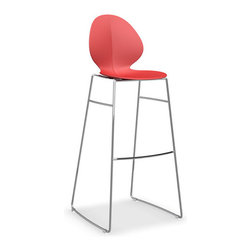 Calligaris - Basil Bar Stool, Chrome Frame, Red - You want bar seating that's up-to-the-minute modern without sacrificing comfort — and here's the stool that satisfies. The seat's rounded contours are so inviting, while the leggy steel frame keeps things cutting edge.