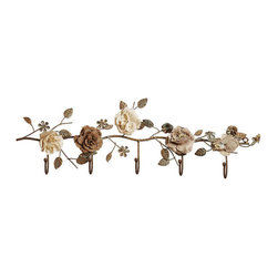Winding Flowers Metal Wall Hooks - The traditional appeal of theWinding Flowers Metal Wall Hooks will prompt you to hang up your most beautiful pieces to complement the fabric flowers. A winding vine of flowers in neutral tones createswall hooksthat are not only practical but beautiful.