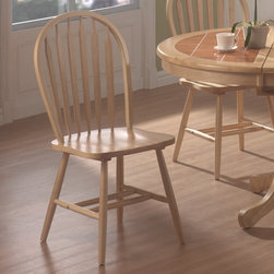 Coaster - Dining Chair in Natural, Set of 4 - This lovely Windsor style dining side chair will be a wonderful addition to your casual dining room ensemble. The charming chair features a classic arrow Windsor back, shapely wooden seat, and simple turned legs. In a warm Natural finish, this chair will blend nicely with your home decor. Pair with the matching table for complete look that you will love.