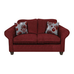 Chelsea Home Furniture - Chelsea Home Libby Loveseat in Tahoe Burgundy/Celeste Ruby - Libby loveseat in Tahoe Burgundy/ Celeste Ruby belongs to Liberty collection by Chelsea Home Furniture.