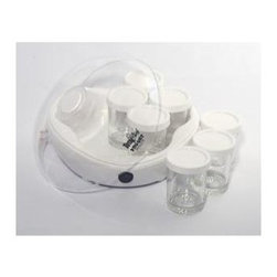 Koolatron - Total Chef Yogurt Maker - Includes:. 1 Total Chef Yogurt Maker base. 1 Dome cover . 7 glass jars (6 Oz. each). 7 Plastic lids. Instruction manual and recipe book . 90-Day Manufacturer's Warranty and 30-Day Money Back Guarantee. Economical and excellent for your health. Make 7 different flavors of yogurt at once. Compact, easy-to-use. 9.50 in. L x 9.50 in. W x 6 in. H (3 lbs.)The Total Chef Yogurt Maker is the convenient and super affordable way to delicious, healthy yogurt at home. Save money and enjoy a natural treat without dyes, preservatives, or fillers. The Total Chef Yogurt Maker lets you make up to 7 different recipes at the same time. Enjoy your favorite flavors, or make up unique recipes you can't find in the grocery store. Just follow the simple step-by-step recipe book and add your favorite ingredients. The compact, plug-in design takes up hardly any counter space. The Total Chef Yogurt Maker will help you boost your health by making your own yogurt you are able to control the fat content and sugar intake as well as many other important nutritional properties. This Total Chef Yogurt Maker comes with seven 6 oz. glass containers with lids. Preparation time is about 6-10 hours for 42 oz. of fresh homemade yogurt.