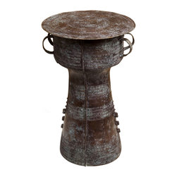 Kathy Kuo Home - Antique Bronze Reproduction Thai Rain Drum Table- Large - When it comes to global bazaar styles, we have a soft spot for the crafts from rural Asia.  This piece is definitely influenced by this and comes from Thailand. Cast in brass, this large drum table adds interest alone or in a pair to global and even industrial style spaces.