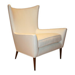 ecofirstart - Morton Curved Back Wing Chair - Sculpted high back arm chair on solid hand turned legs, with loose down feather seat cushion. Multiple finishes and upholstery selections are available.