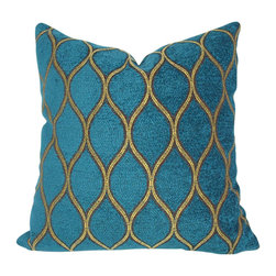 Domusworks - Malta Velvet Decorative Pillow Cover, Rich Teal, 20 X 20 - Add a splash of color and pattern to complement your home with new pillows.