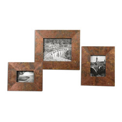 "Uttermost - Uttermost Ambrosia Copper Photo Frames Set of 3 18564 - Frames feature oxidized copper sheeting. The oxidation on each piece will vary due to their handcrafted nature. Holds photo sizes: 4""W x 6""H, 5""W x 7""H, 8""W x 10""H. Frame sizes: Small 9""W x 11""H, Medium 10""W x 12""H, large 13""W x 15""H."