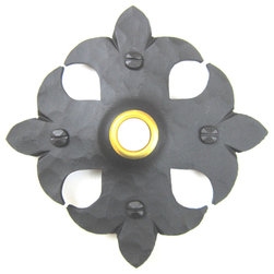 Spanish style fleur de lis cross door bell covers - Our unique hammered iron Spanish style door bell cover.  comes with door bell center and mounting hardware.  Made in the USA.