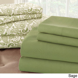 None - Solid and Print 8-piece Microfiber Sheet Set (More Colors Available) - Sleep in comfort and luxury with these microfiber sheets,available in a variety of colors to accommodate any bedroom decor. The set comes with an elegant paisley print sheet set and a solid set,so you can suit any style.
