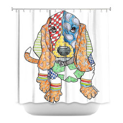 DiaNoche Designs - Shower Curtain Artistic - Basset House - DiaNoche Designs works with artists from around the world to bring unique, artistic products to decorate all aspects of your home.  Our designer Shower Curtains will be the talk of every guest to visit your bathroom!  Our Shower Curtains have Sewn reinforced holes for curtain rings, Shower Curtain Rings Not Included.  Dye Sublimation printing adheres the ink to the material for long life and durability. Machine Wash upon arrival for maximum softness. Made in USA.  Shower Curtain Rings Not Included.