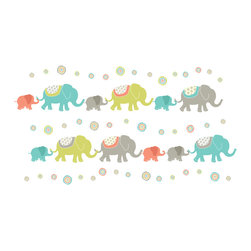 "WallPops - Tag Along Elephants Wall Art Decal Kit - These elephant decals are irresistible in nursery Decor, symbolic of strength and good luck. Our elephants are designed with funky fabric accents and global chic polka dot decals. Make a beautiful scene, or a funky wall border with these elephant wall stickers, they are a cultured and cute nursery idea! This WallPop Comes on 4 9.75"" x 17.25"" Sheets and contains 56 Pieces Total. WallPops are repositionable and always removable."