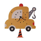 Tow Truck Pendulum Clock - The colorful tow truck pendulum children's wall clock is the perfect adorable time-keeper to add a bit of whimsy and decorative fun to any nursery or kid's bedroom. It is also an enjoyable gift for a child or newborn.