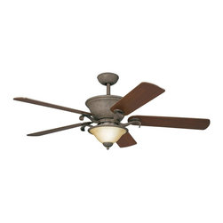 """DECORATIVE FANS - DECORATIVE FANS High Country 56"""" Transitional Ceiling Fan X-IO010003 - Traditional elements have been blended with rustic influencing for a stylish look on this Kichler Lighting ceiling fan. From the High Country Collection, it features a rich Old Iron finish that compliments the wood tones of the reversible dark/light cherry fan blades. An elegant umber alabaster shade is the perfect finishing touch."""