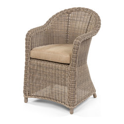 Caluco - Amelie Dining Arm Chair - The Amelie collection offers the romantic look and classic elegant design of traditional wicker furniture sets, updated with the durability of Caluco�۪s own all-weather, UV resistant resin fibers. All our wicker furniture can stand any outdoor situation. The all welded aluminum powder coated frames are generously proportioned to accommodate the plush, all-weather cushions.