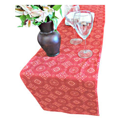 Divine NY & Co. - Red Printed Cotton Table Runner - Add a splash of color to your table with this eye-catching table runner in red. Embellished with with an Indian inspired print.