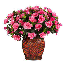 Nearly Natural - Azalea w/Vase Silk Plant - Azaleas conjure up images of one's garden in the Springtime, with their pretty, full blossoms and bright green leaves.  Now you can bring that garden feel into any type of environment with this lovely arrangement that will make your visitors stand up and take notice.  The Azalea arrangement is housed in a beautiful vase that is highlighted by a pattern that only adds to the overall presentation.  A must own!