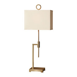 Uttermost - Uttermost Feldon Coffee Bronze Accent Lamp - Feldon Coffee Bronze Accent Lamp by Uttermost Brushed Coffee Bronze Plated Metal. The Rectangle Hardback Shade Is A Tan Linen Fabric.