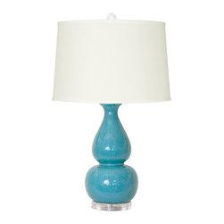 "Bungalow 5 - Bungalow 5 Emilia Turquoise Table Lamp - Graceful curves captivate on the Bungalow 5 Emilia table lamp. Topped by a custom shade, this ceramic fixture rests on a clear acrylic base for a glamorous touch. 8""W x 29""H; Turquoise; Burlap, natural linen or white paper shade; Accepts one 150W max bulb (not included); Three-way switch"