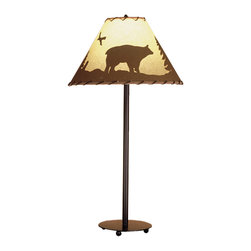 """Meyda - 29""""H Bear In The Woods Painted Table Lamp - A northwood scene, featuring pines and bear,silhouetted on parchment paper shades, enhance thismahogany bronze finished table lamp. The hand paintedshades are wrapped in rawhide to complete the rusticlook. Bulb type: med bulb quantity: 1 bulb wattage: 60"""