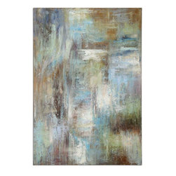 Uttermost - Dewdrops Modern Art - This Hand Painted Artwork Is On Linen Fabric Mounted To A Wooden Backboard. Due To The Handcrafted Nature Of This Artwork, Each Piece May Have Subtle Differences.