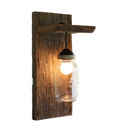 Barn Wood Mason Jar Light Fixture, Without Rope Detail - This light fixture is made from reclaimed barnwood and a mason jar - great for rustic, country, or western decor. Each light is unique because each piece of barnwood is unique.