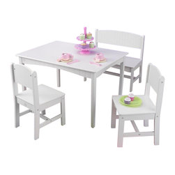 KidKraft - Nantucket Table With Bench And 2 Chairs by Kidkraft - The Nantucket Table with Bench and Two Chairs is one of our most gorgeous furniture sets to date. Kids can use the large workspace for working on homework, making crafts or even enjoying a tasty meal.