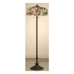 Meyda Tiffany - Meyda Tiffany Lamps Floor Lamp in Mahogany Bronze - Shown in picture: Tiffany Cherry Blossom Floor Lamp; Cardinal Red Jewel Cherries Glisten Between Rosy Pink Flowers And Verdant Green Leaves In Our Version Of The Tiffany Studio's Cherry Blossom. The Cascading Blooms And Fruit Form The Undulating Edge Of This Colorful And Intricately Patterned Stained Glass Shade. This Lovely Shade Rests On A Mahogany Bronze Hand Finished Floor Lamp Base.