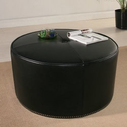 Abbyson Living Adway Bicast Leather Round Ottoman - Dark Brown - You've had a long day; why don't you put your feet up on the Abbyson Living Adway Bicast Leather Round Ottoman- Dark Brown? This piece is a staple for the modern living room with its sleek round shape upholstered in rich brown bicast leather. The look is completed with elegant, geometric seams and silver nailhead trim around the bottom. About AbbysonBased in California, Abbyson has been America's leading home lifestyle furnishings brand since 1989. Following a mission that aims to combine style, function, affordability, sustainability and diversity into all their products, Abbyson creates classic and transitional designs that let their customers regain the control in the environments that they call home. With operations in Italy, China, and Germany, Abbyson focuses on using the finest materials, craftsmen, and techniques, from their classic leather furniture sets to organic, hand-knotted Tibetan rugs. Abbyson recently partnered with the Sustainable Furnishings Council as part of their effort to find new ways to bring sustainable practices to home furnishings marketplace. Through their green initiatives and everyday design and construction practices, Abbyson keeps striving to meet their customer's lifestyle needs, and revitalize their day-to-day routines.