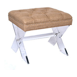 Burlap Tufted X Stool - Comfortable seating meets contemporary art when you provide the X Stool as a dining chair or as a place to perch in your living room.  A variegated golden brown weave of pieced and tufted linen-burlap, deeply padding the stool's seat with neat piping and mid-century nailhead trim, tops off an x-shaped arrangement of crystal clear Lucite legs.  Whether you're showing off a prized carpet without interruption or just enjoying the transitional look, the contrast is delightful.