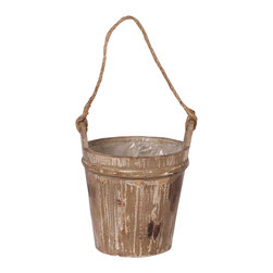 Braun - Water Bucket - Add a touch of rustic charm to your outdoor décor with this vintage water bucket.   7.5'' W x 8'' H Wood Imported