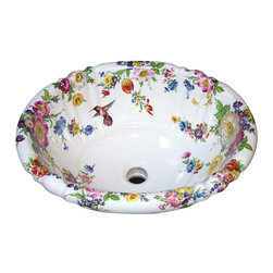 Scented Garden with Hummingbird Hand Painted Sink Decorated Sink - Versatile Dresden floral includes tulips, poppies, roses, daisies, violets, chrysanthemums, iris, morning glory, cornflowers and even a butterfly and a ladybug or bee! The wide range of vivid colors in this timeless design are easily coordinated with any decor. Shown on a white fluted drop in, design can be adapted to any fixture.